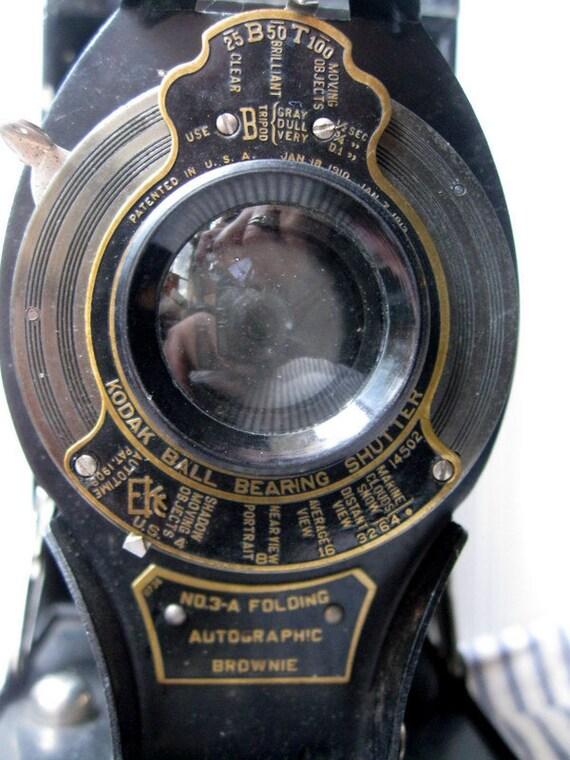 Antique folding Camera Kodak No 3A Folding Brownie vintage bellows camera Edwardian