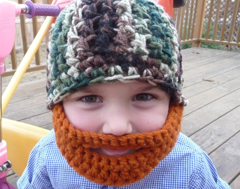 Beanie Hat With Beard Crochet Pattern Free : Beard Hat Child Size Custom Make for You