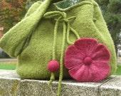 Felted flower purse - Leaf green and magenta pink felted flower handbag