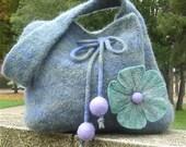 Felted flower purse - Blue, green and lavender purple felted flower handbag