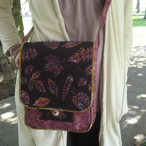 Cross body bag - Black and purple leaf patterned shoulder bag