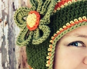 Miss Olive Beanie with Flower---Newborn, Toddler, Child, Teen, Adult