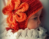 Crochet Hat, Knit  Hat, Autumn Hat, Fall Hat,  Hat with Earflaps, Cranberry and Orange Hat, Newborn Photography Prop