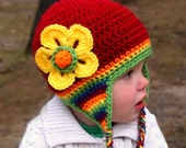 Rainbow Hat, Crochet or Knit Striped Beanie, Hat with Earflaps and Flower---Newborn, Toddler, Child, Teen, Adult--boy girl
