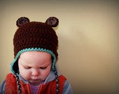 Crochet Fuzzy Bear Beanie/ Hat/ Cap Halloween Costume---Baby, Child, Toddler, Teen, Adult--Boy or Girl Photo Prop