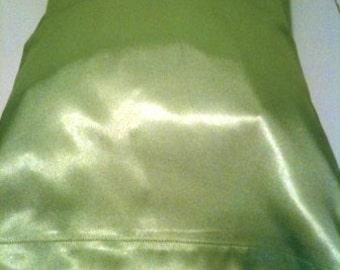 Green Satin Child or Travel Pillowcase