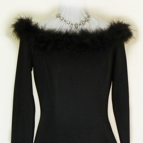 RESERVED Sale 30% Off Vintage Body Hugging Black Dress with Marabou Feathers by Scott McClintock Dead Stock LBD