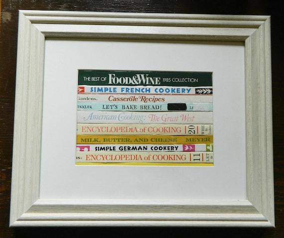 CookBooks Inspired Framed Wall Art/Decor , Recycled Vintage CookBook Bindings Framed