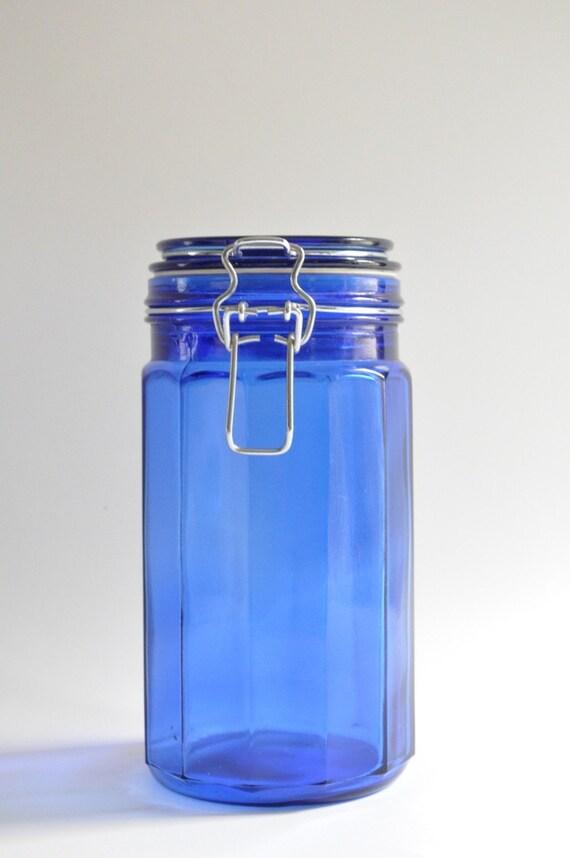 Tall Vintage-American-Cobalt Blue Glass-Cottage Jar