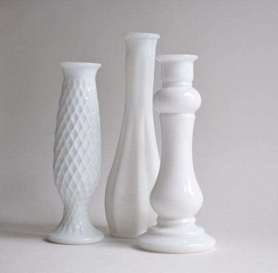 Instant Vintage Collection-Brody-Wedding White-Milk Glass Vases