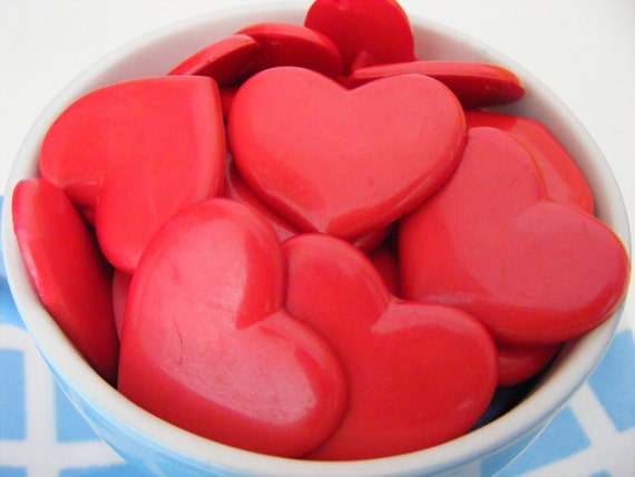 blood red HUGE heart buttons - perfect for halloween crafts - 34mm - 3pcs