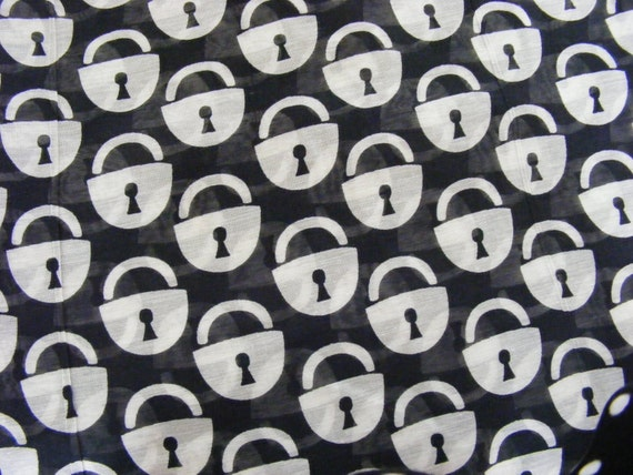 sheer PADLOCK cotton lawn - MONOCHROME - black and white - REMNANT - over 3 yard piece