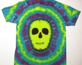 Tie Dye Shirt With a Lime Green Zombie Skull Face on both the front and back. (Ready to Ship)