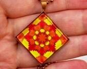 Sunshine Mandala Tie Dye Pendant Diamond Shape (Ready to Ship) J024