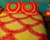 Fire Dragon Duvet Cover and a Set of Dragon Eye Pillowcases Queen / Full Size (Ready to Ship)