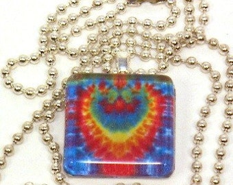 Glass Tile Pendant, Rainbow Heart Necklace, Tie Dye Charm (Ready to Ship) J014