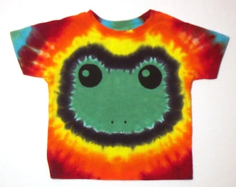 Tie Dye Frog Shirt, Green Frog Face and Rainbow colors, Size 2