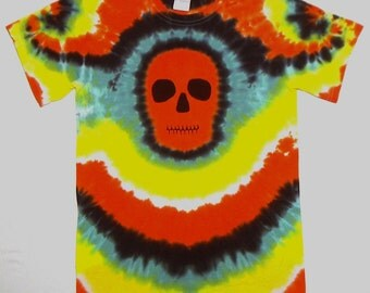 Tie Dye Halloween Shirt, Size Small, Orange Zombie Skull Face