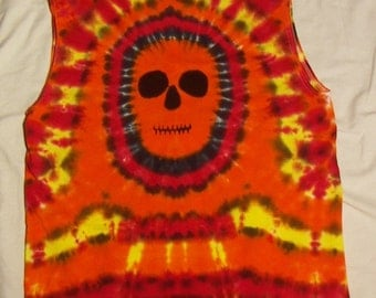 Tie Dye Sleeveless T-Shirt, Fire Skull