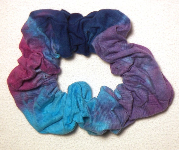 Raspberry, Turquoise, Royal Blue, and Purple Tie dye Hair Scrunchie