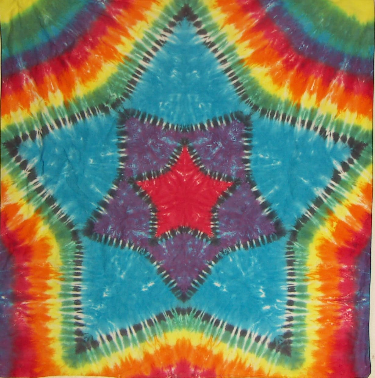 Tie Dye Tapestry Tie Dye Fabric Rainbow Star Within A Star