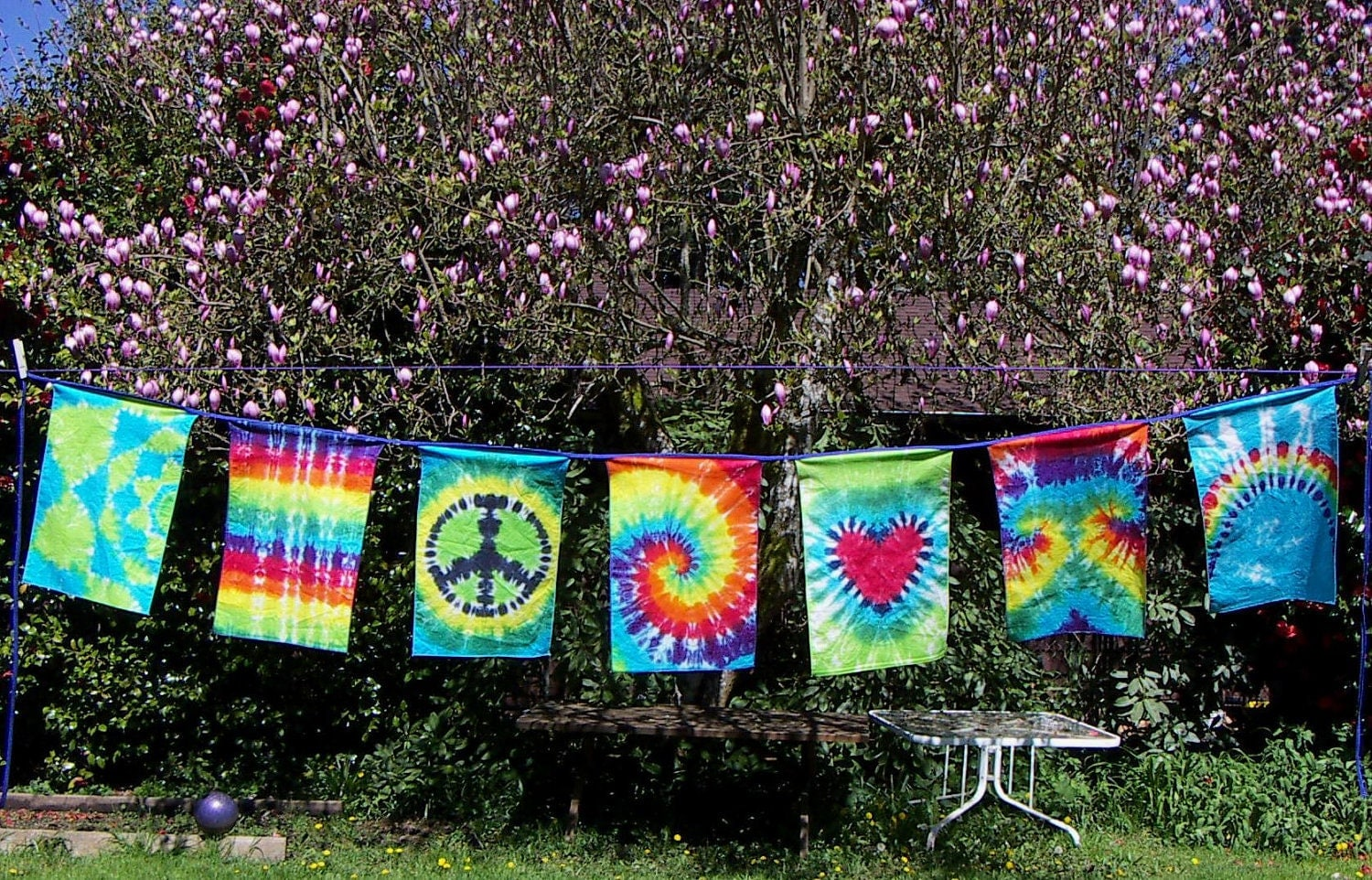 Tie Dye Dream Flags Tie Dye Banner 7 Flag String Ready To
