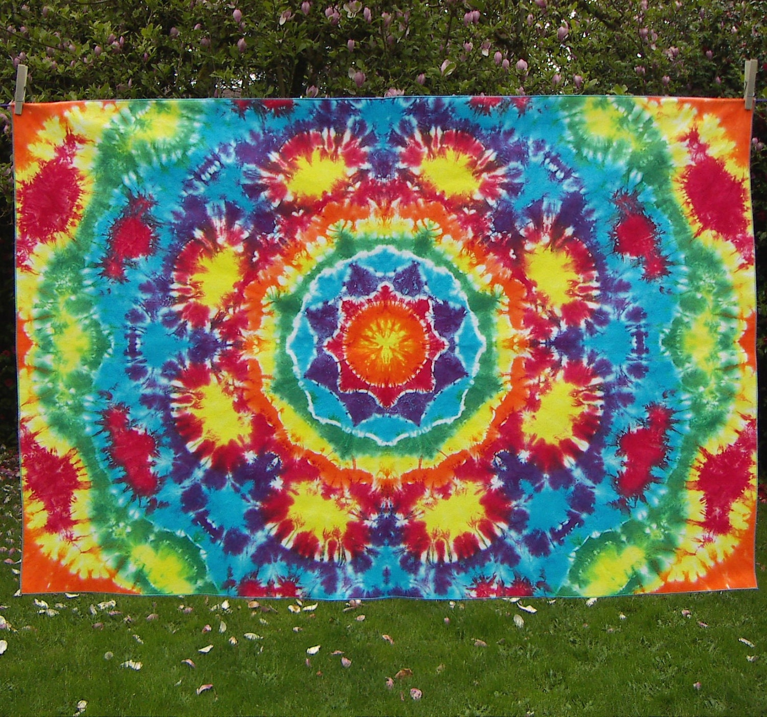 Rainbow Mandala Tie Dye Tapestry Tie Dye Fabric Ready To