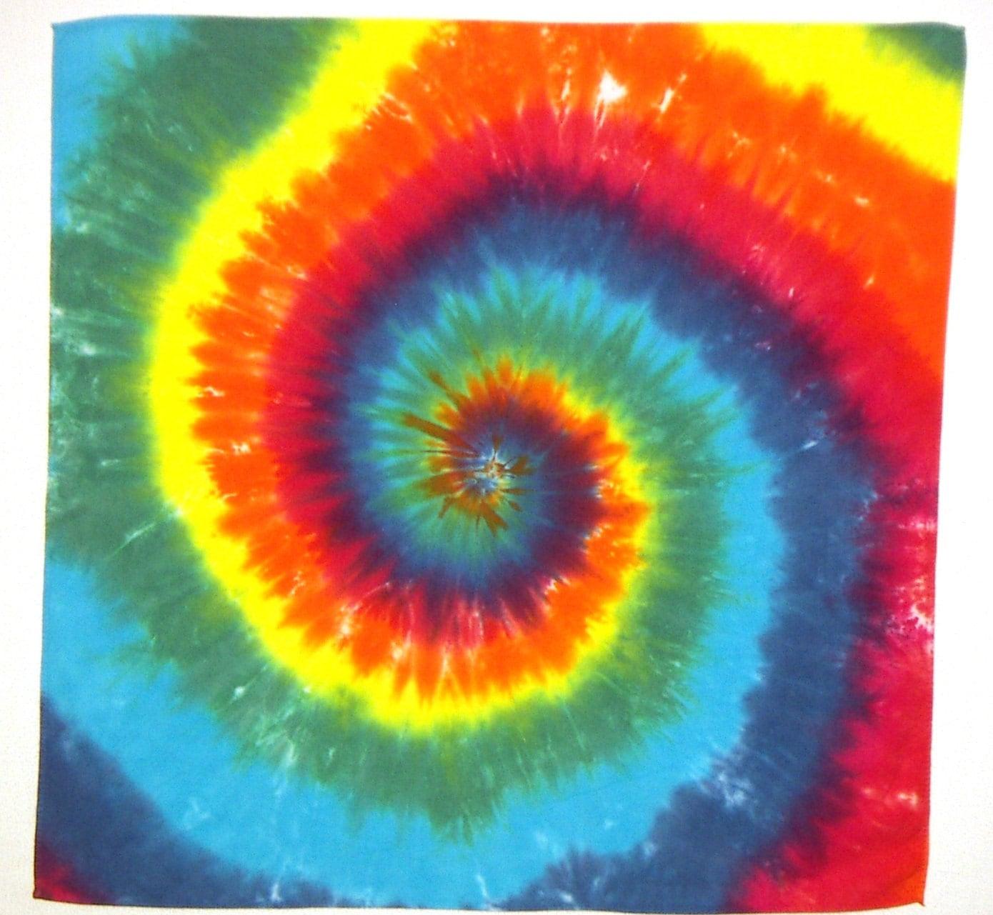 rainbow spiral tie dye cotton bandana ready to ship