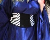 Pirate Corset Waist Cincher Belt - Any Size Black and White Striped Custom