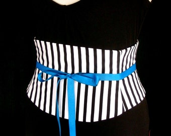 Corset Belt Pirate Black and White Striped Any Size Custom Bespoke Waist Cincher