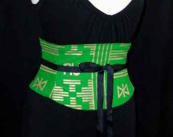 Waist Cincher Green and Gold Tribal African Print Corset Belt B