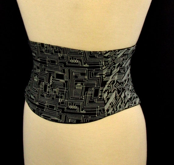 Circuit Board Black and White Corset Belt - Waist Cincher Any Size