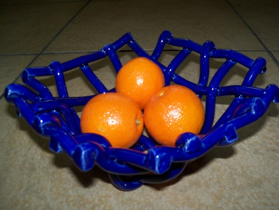 Woven Cobalt Pottery Bowl Fruit bowl bread warmer