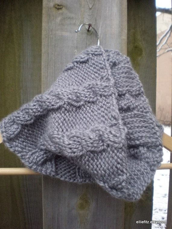 Steel Grey Cowl, Circular Scarf, Winter Scarf
