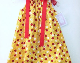 SALE !!!  Sz 3T - Lady Bug Pillowcase Dress & Hairbow - Ready to Ship