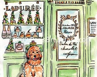 Send your Pet to Paris custom watercolor portrait 8.25 x 11 inches