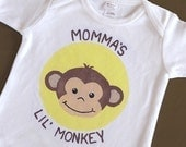 Momma or Daddy's Lil Monkey Short Sleeve One-Piece Bodysuit or T Shirt for Boy or Girl