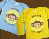Momma or Daddy's Lil Monkey Blue or Yellow Long Sleeve Lap T Shirt for Boy or Girl