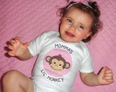 Momma's or Daddy's Lil Monkey Short Sleeve One-Piece Bodysuit or T Shirt for Girl