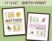 Baby Birth Print for Boys and Girls - Custom Personalized Birth Announcement Nursery Art - Size 11x14