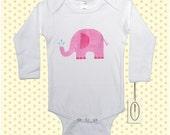 Pink Elephant Long Sleeve One-Piece or Shirt