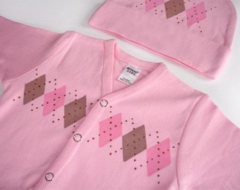Newborn Gift Set for Baby Girl - Pink Argyle 5pc.