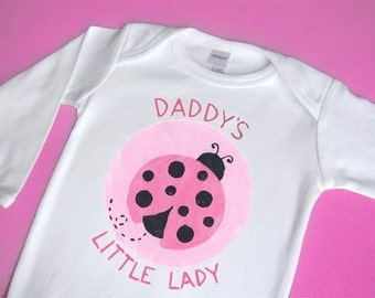 Daddy or Mommy's Little Ladybug Long Sleeve One-Piece Bodysuit or Shirt for Girl