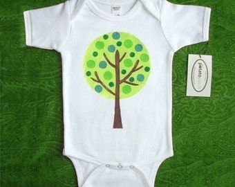 Spring Green Tree Short Sleeve One-Piece Bodysuit or T Shirt for Boy or Girl