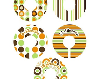 Closet Clothing Dividers - Modern Pop  Orange, Brown and Green