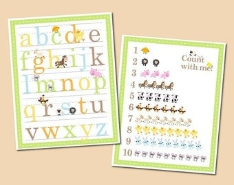 Alphabet and Number Counting Poster - Set of 2 11x14 Funny Farm