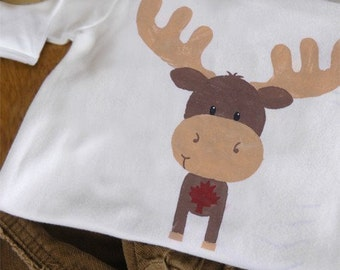 Moose Short Sleeve One-Piece Bodysuit or T Shirt for Boy and Girl