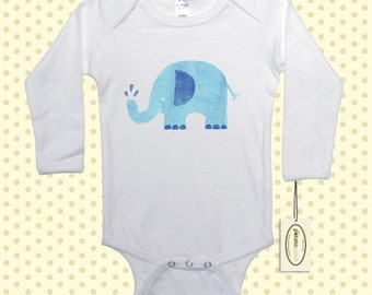 Blue Elephant Long Sleeve One-Piece Bodysuit or Shirt