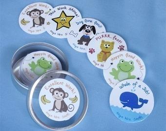 1 Set of 48 Teacher Stickers -Personalized Student Reward Stickers with Metal Storage Tin