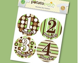 Baby Monthly Shirt Stickers - Modern Pop Sage & Brown for Boys and Girls